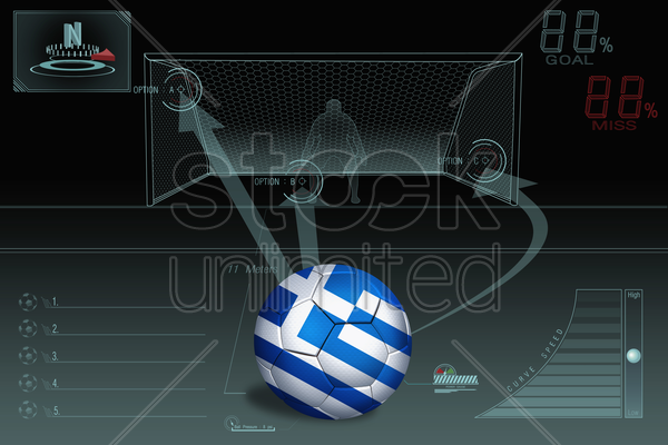 penalty kick infographic with greece soccer ball stock photo