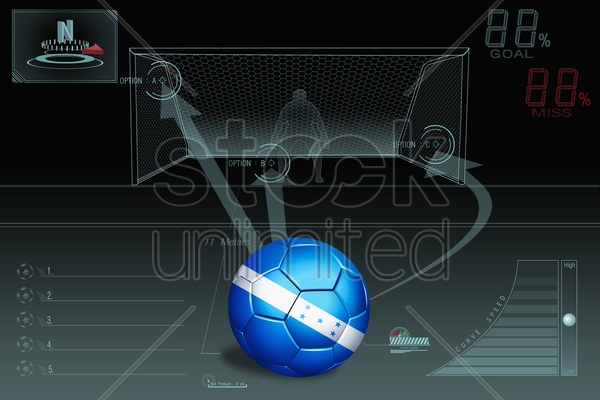 penalty kick infographic with honduras soccer ball stock photo