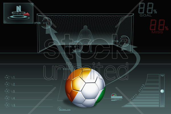 penalty kick infographic with ivory coast soccer ball stock photo