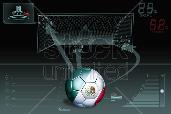 penalty kick infographic with mexico soccer ball stock photo