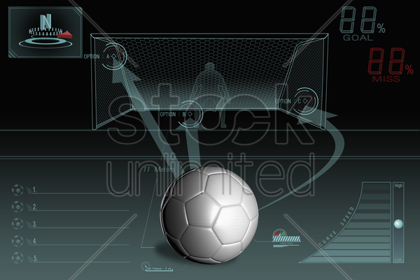 penalty kick infographic with plain soccer ball stock photo
