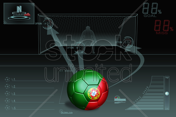 penalty kick infographic with portugal soccer ball stock photo