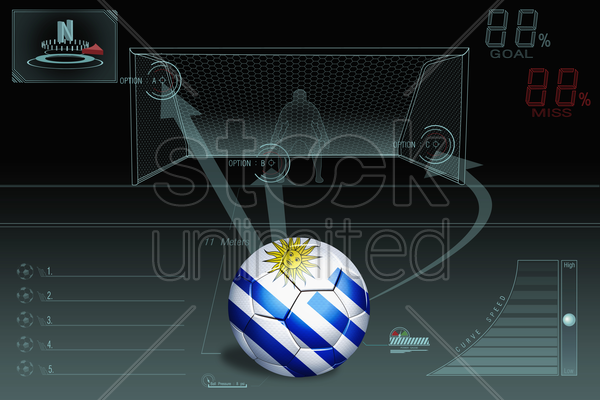 penalty kick infographic with uruguay soccer ball stock photo
