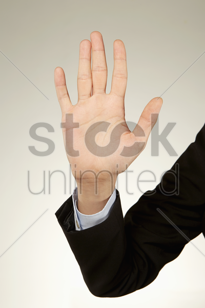 person holding up palm stock photo