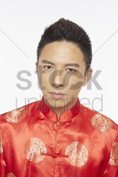 portrait of a man in traditional clothing stock photo