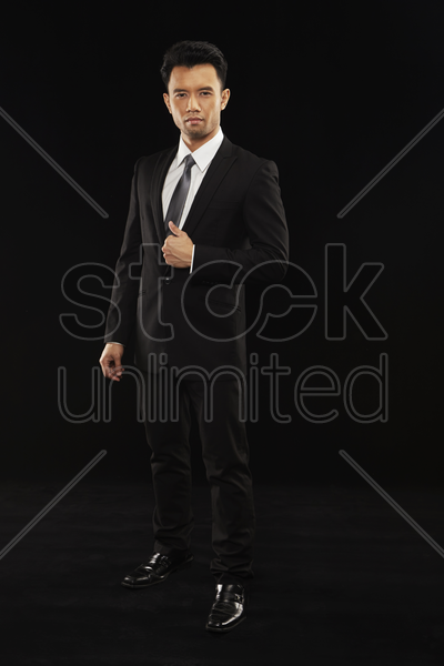 portrait of businessman in a full suit stock photo
