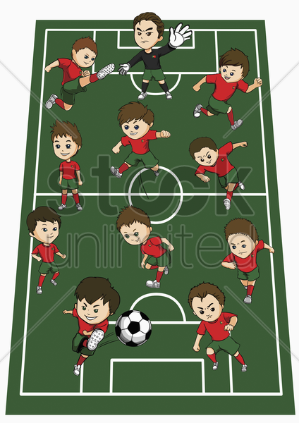 portugal team formation stock photo