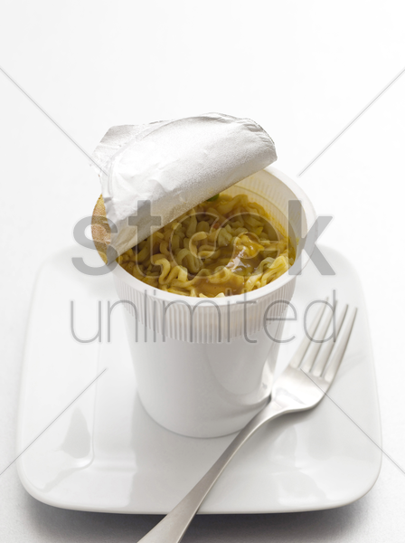 ready-to-eat cup noodles stock photo