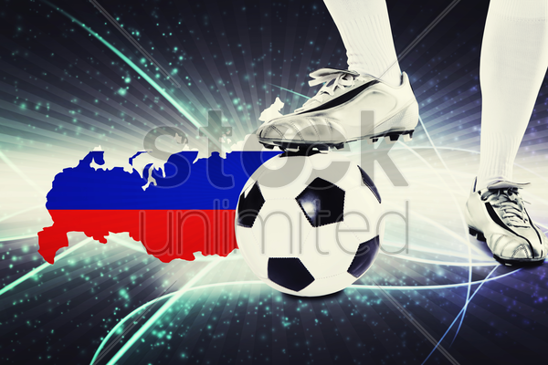 russia soccer player ready for kick off stock photo