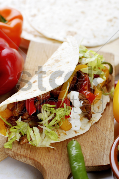 salad in tortilla wrap stock photo
