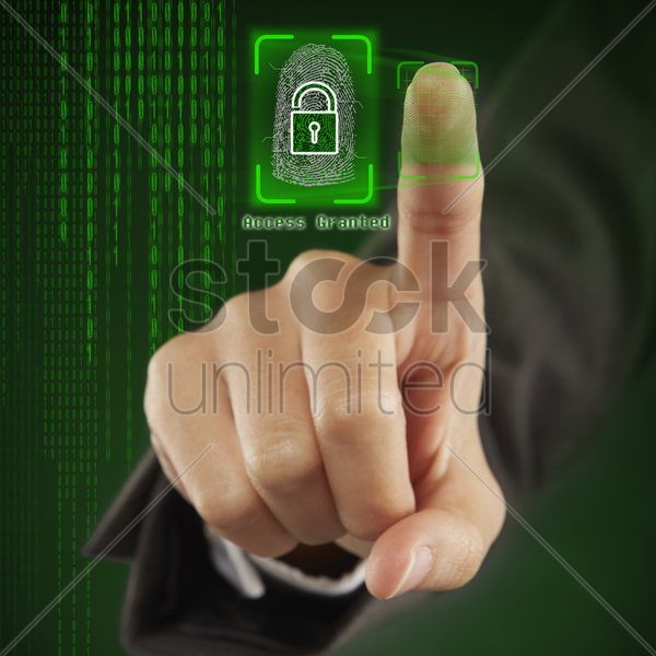 scanning of finger print stock photo