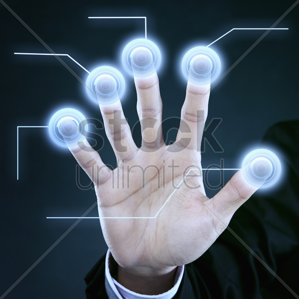scanning of palm and finger prints stock photo