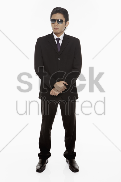 security staff with a serious facial expression stock photo