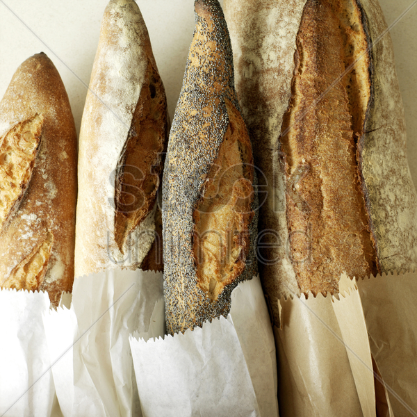 selection of fresh italian rustic bread stock photo