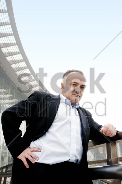 senior businessman posing for the camera stock photo