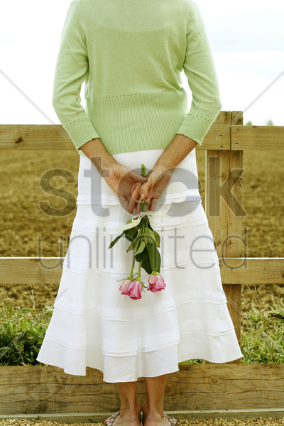 senior woman hiding roses on her back stock photo