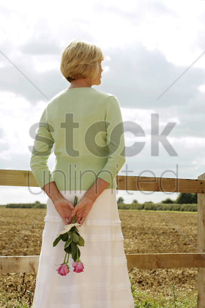 senior woman holding roses on her back stock photo