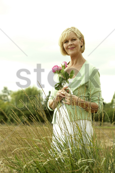 senior woman posing with pink roses stock photo