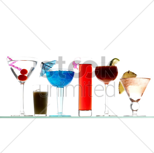 side view of cocktail varieties stock photo