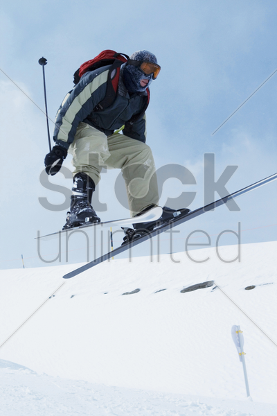 skiing, winter sport stock photo