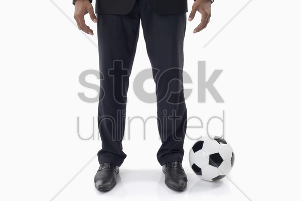 soccer manager with a ball stock photo