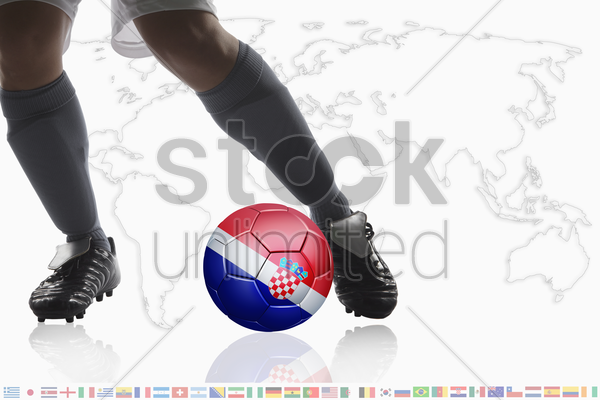 soccer player dribble a soccer ball with croatia flag stock photo