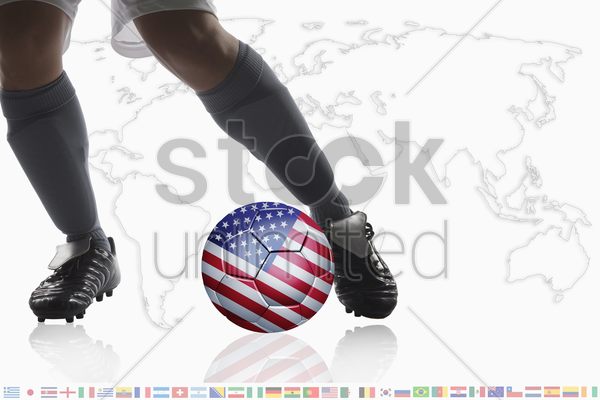 soccer player dribble a soccer ball with usa flag stock photo