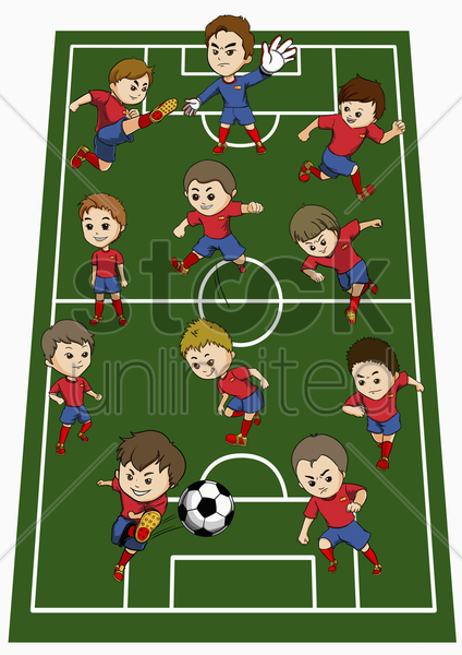 spain team formation stock photo