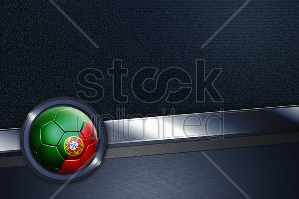 sports interface with portugal soccer ball stock photo