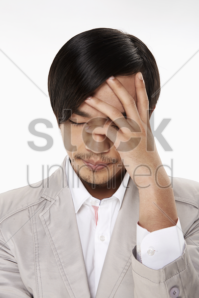 stressed and worried man stock photo