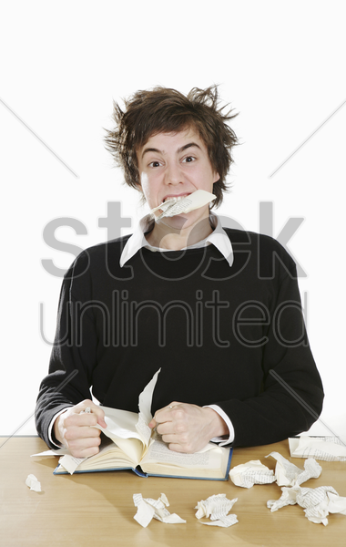 stressed out boy stock photo