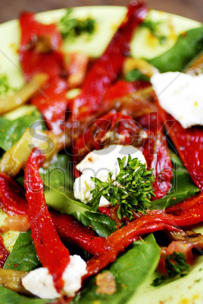 sundried tomatoes and red pepper salad stock photo