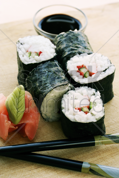 sushi with wasabi and soy sauce stock photo