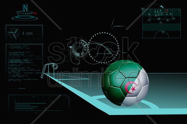 taking a corner infographic with algeria soccer ball stock photo
