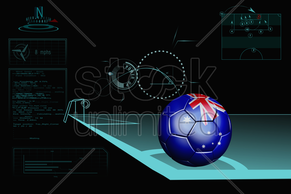 taking a corner infographic with australia soccer ball stock photo