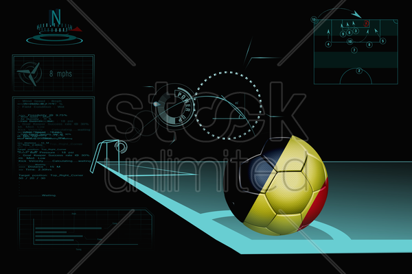 taking a corner infographic with belgium soccer ball stock photo