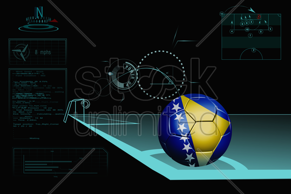 taking a corner infographic with bosnia and herzegovina soccer ball stock photo
