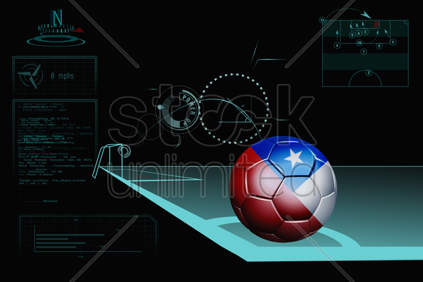 taking a corner infographic with chile soccer ball stock photo