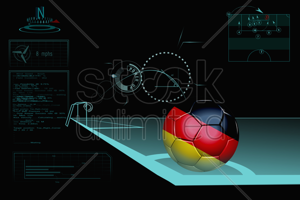 taking a corner infographic with germany soccer ball stock photo