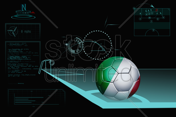 taking a corner infographic with italy soccer ball stock photo