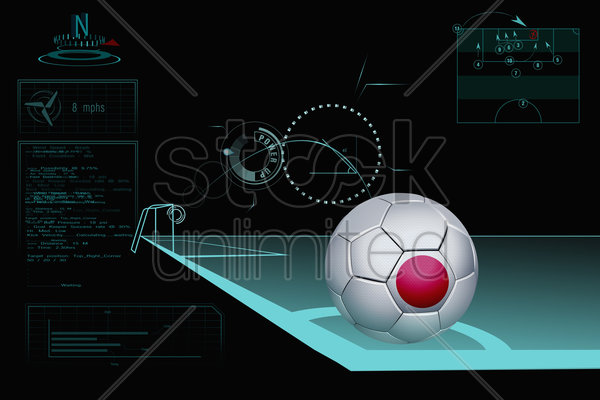 taking a corner infographic with japan soccer ball stock photo