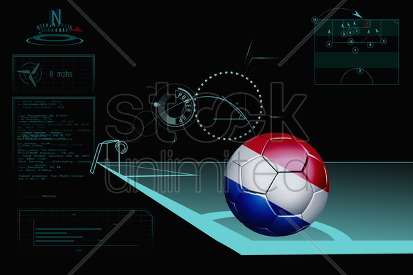 taking a corner infographic with netherlands soccer ball stock photo