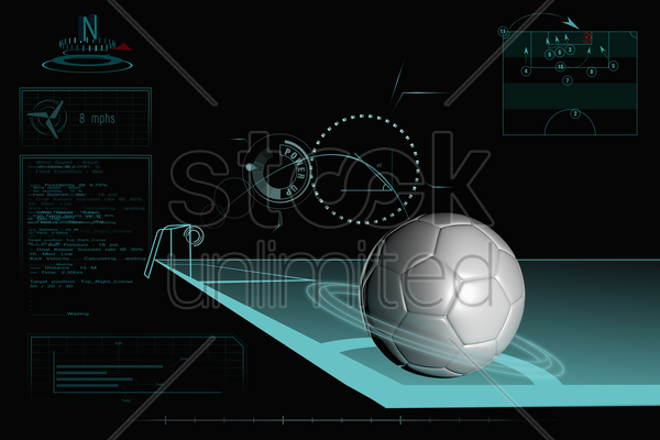 taking a corner infographic with plain soccer ball stock photo