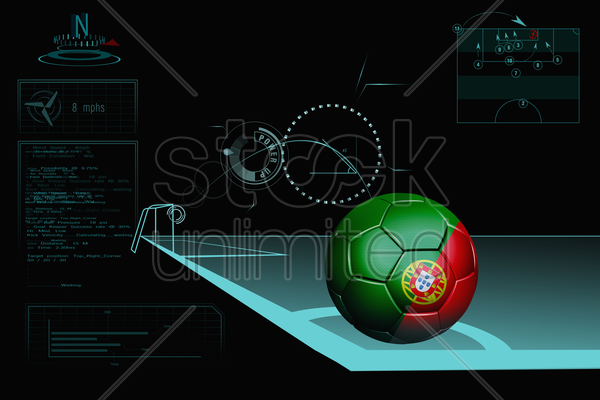 taking a corner infographic with portugal soccer ball stock photo