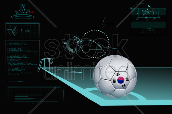 taking a corner infographic with south korea soccer ball stock photo