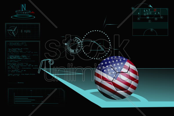 taking a corner infographic with usa soccer ball stock photo