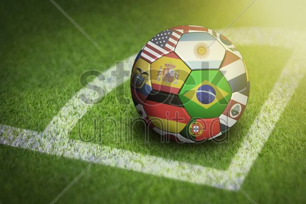 taking corner with world flags soccer ball stock photo