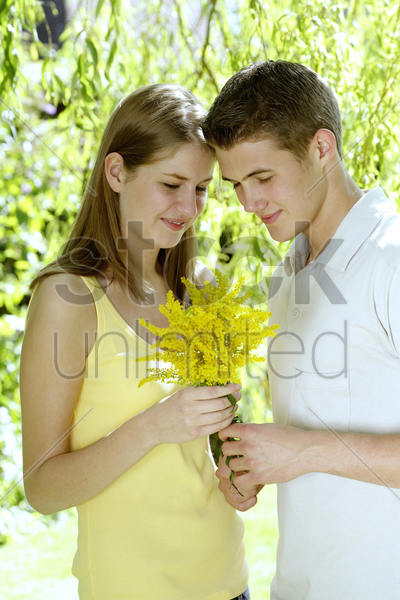 teenage boy giving his girlfriend a bouquet of flowers stock photo