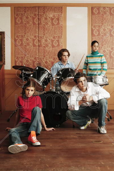 teenagers in a musical band stock photo