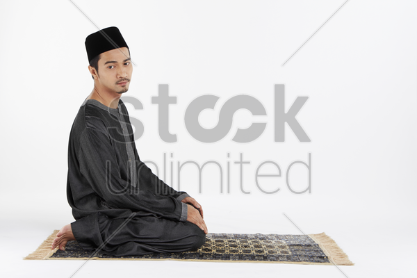 the ending salam, facing right stock photo